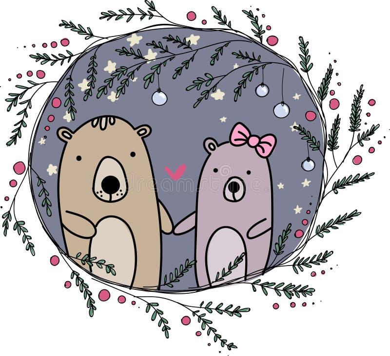 Cartão bonito dos pares dos ursos foto de stock
