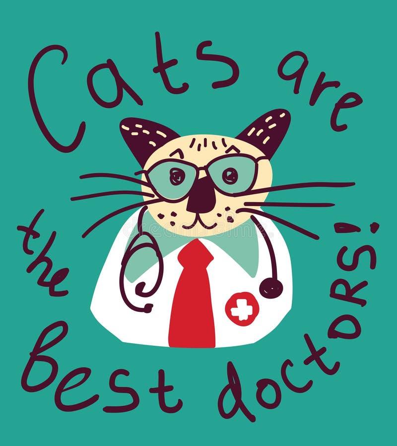 Cartão bonito e sinal do doutor do divertimento do gato ilustração do vetor