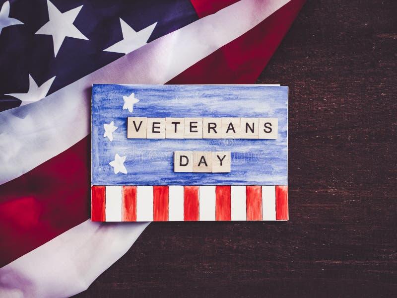 Cartão bonito no dia de veteranos Preparação para o feriado fotografia de stock