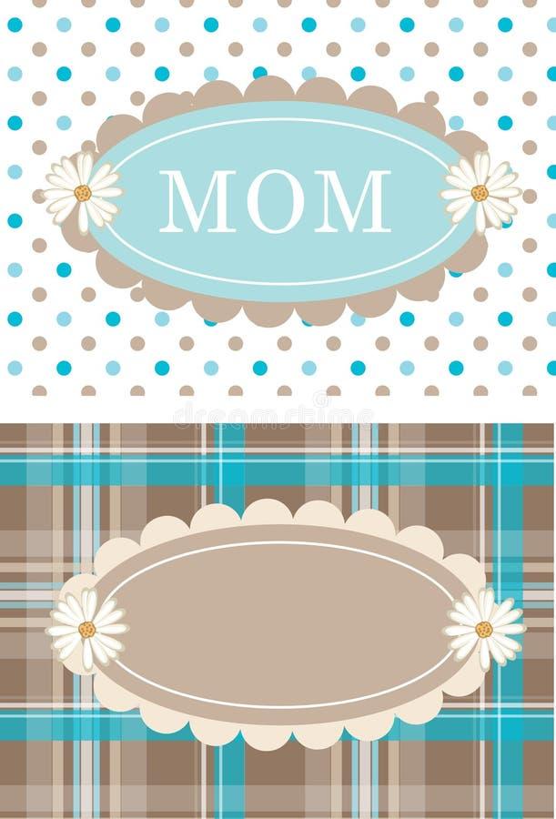 Cartão bonitos Daisy Flower Dots Plaid ilustração do vetor