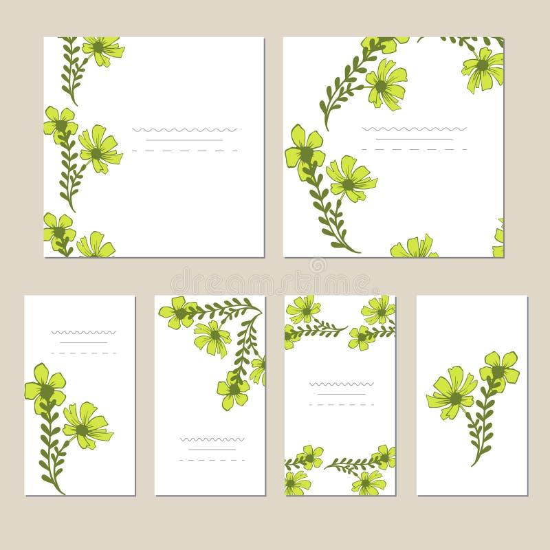 Cartão botânico com flores selvagens, folhas Conceito do ornamento da mola O cartaz floral, convida ilustração royalty free