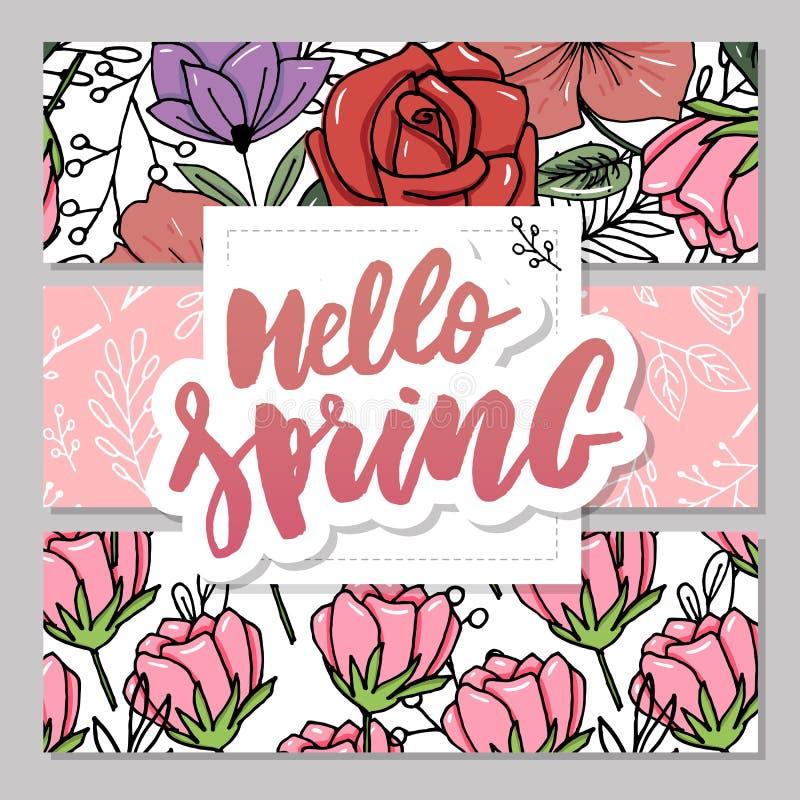Cartão botânico com flores selvagens, folhas Conceito do ornamento da mola O cartaz floral, convida Cartão decorativo da disposiç ilustração stock