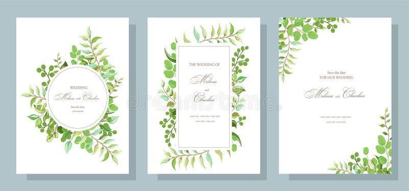 Cartão botânico com folhas selvagens Ajuste das flores dos convites do casamento, deixe festões florais e ervais com a folha verd ilustração stock