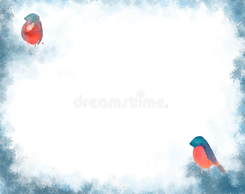 Cartão branco com bullfinchs e quadro azul ilustração do vetor