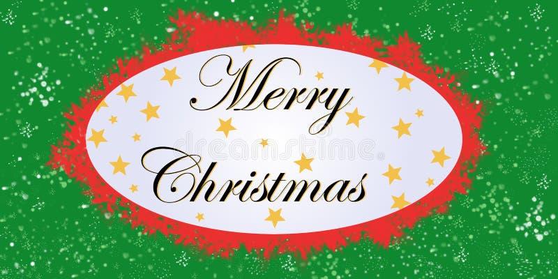 Cartão branco do Feliz Natal verde, vermelho e fotografia de stock royalty free