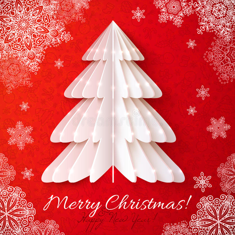 Cartão branco do vetor da árvore de Natal do origâmi ilustração stock