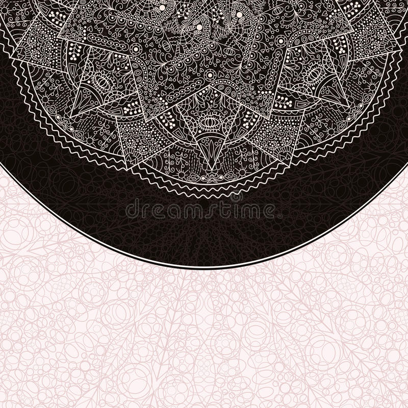 Cartão branco preto do convite com contexto abstrato ilustração stock