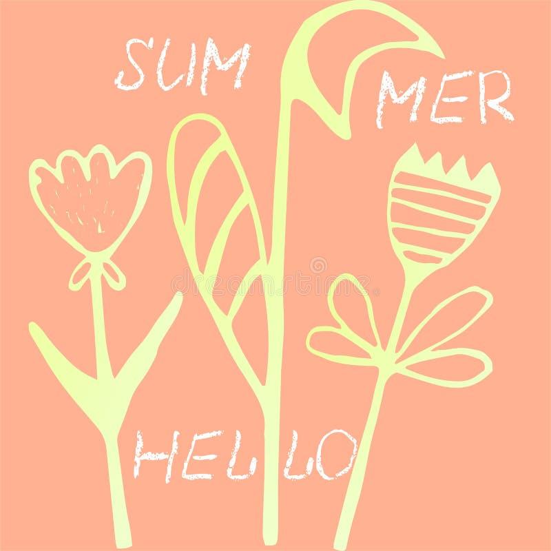 Cartão brilhante, colorido com flores Fundo romântico para página da web, convites do casamento, cartões de data das economias ilustração do vetor