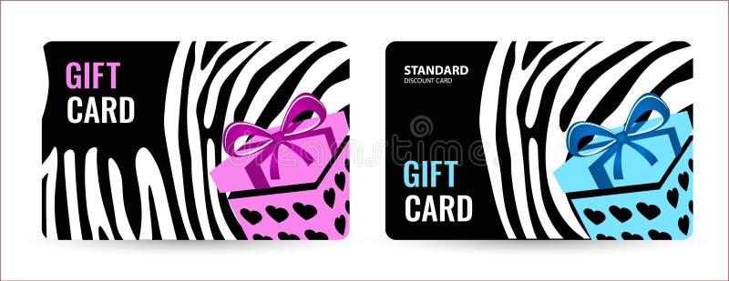 Cartão brilhante com listras preto e branco e a caixa cor-de-rosa Cartão creativo do presente ilustração royalty free