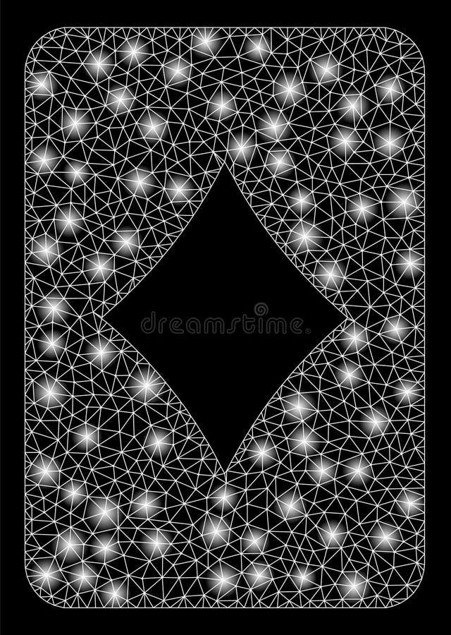 Cartão brilhante de Mesh Wire Frame Diamonds Gambling com pontos instantâneos ilustração do vetor