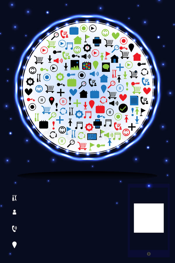 Cartão brilhante do anúncio do serviço do Web site ilustração do vetor