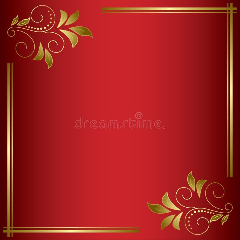 Cartão brilhante vermelho do vetor com quadro dourado ilustração stock