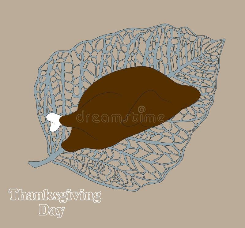 Cartão cômico do dia da ação de graças com peru e o peru pronto, vetor, fundo branco, ilustração do vetor
