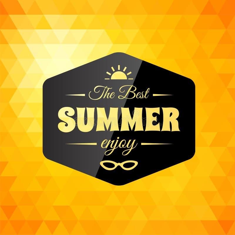 Cartão caligráfico denominado retro do projeto do verão ilustração do vetor