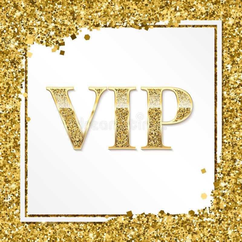 Cartão, cartaz ou inseto superior do convite do VIP para o partido Molde dourado do projeto com texto de brilho do brilho decorat ilustração royalty free