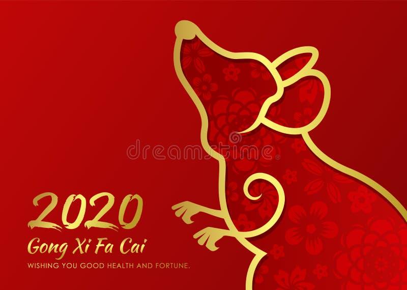 Cartão chinês do ano novo 2020 com linha de beira abstrata zodíaco do rato e textura abstrata do ouro da flor no projeto vermelho ilustração stock