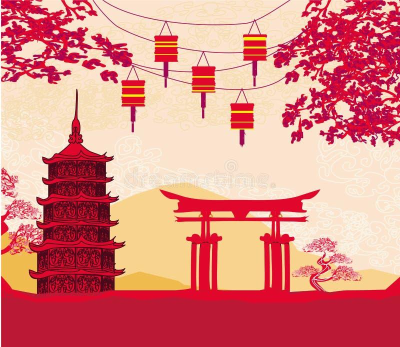 Cartão chinês do ano novo - lanternas tradicionais e construções asiáticas ilustração do vetor