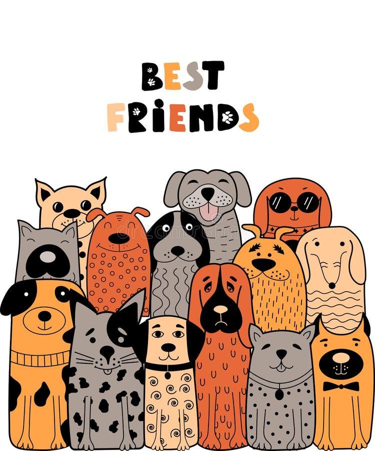 Cartão colorido com cães da garatuja ilustração royalty free