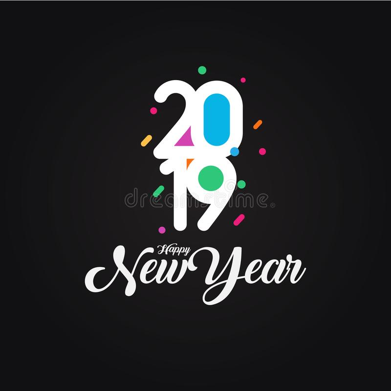 Cartão colorido criativo do projeto do ano novo feliz 2019 no fundo preto Ilustração do vetor ilustração royalty free