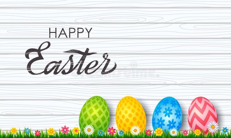Cartão colorido da Páscoa A Páscoa pintou ovos com ornamento, no fundo de madeira com grama verde e flores Vetor ilustração do vetor