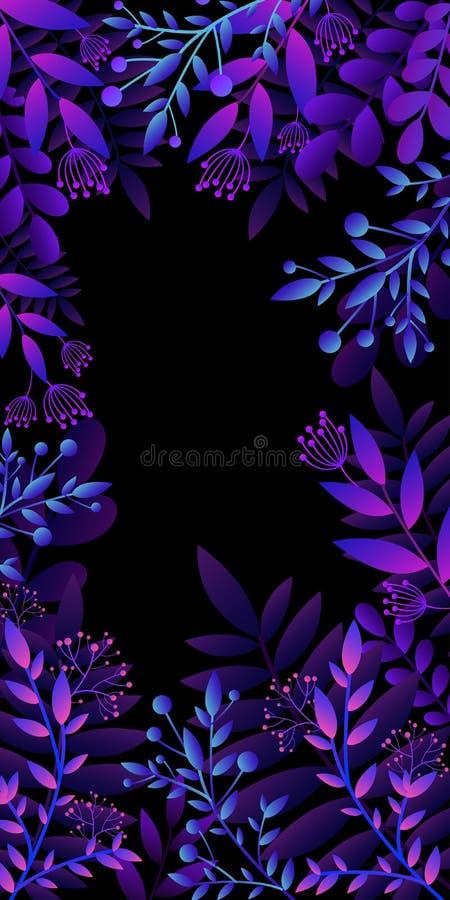Cartão colorido do convite com plantas brilhantes, flores Cores brilhantes do inclinação do quadro do molde, no estilo liso Vetor ilustração stock