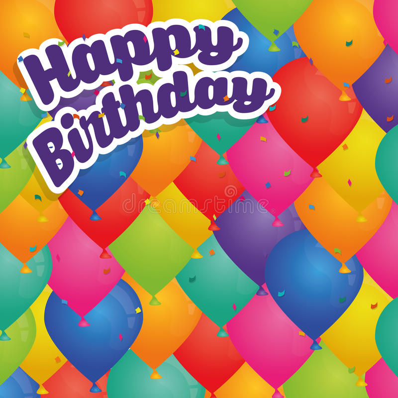 Cartão colorido do feliz aniversario ilustração stock