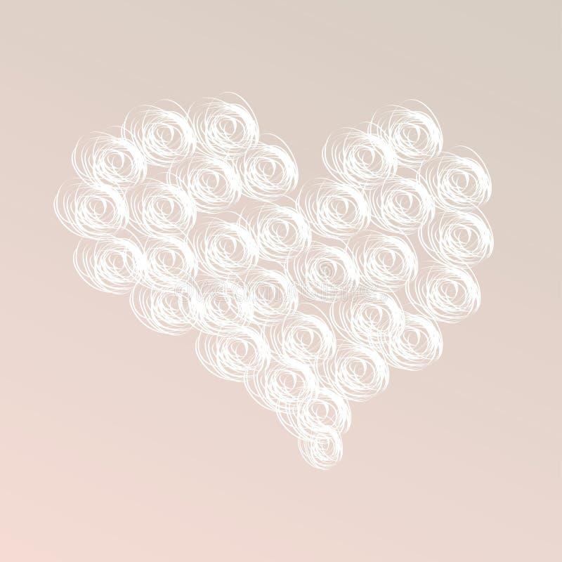 Cartão colorido do Grunge com corações das ondas no fundo pastel ilustração stock