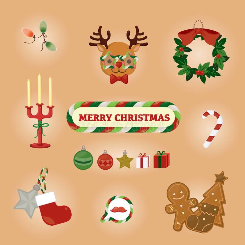 Cartão colorido do Natal com rena e materiais bonitos Ilustração do vetor ilustração do vetor