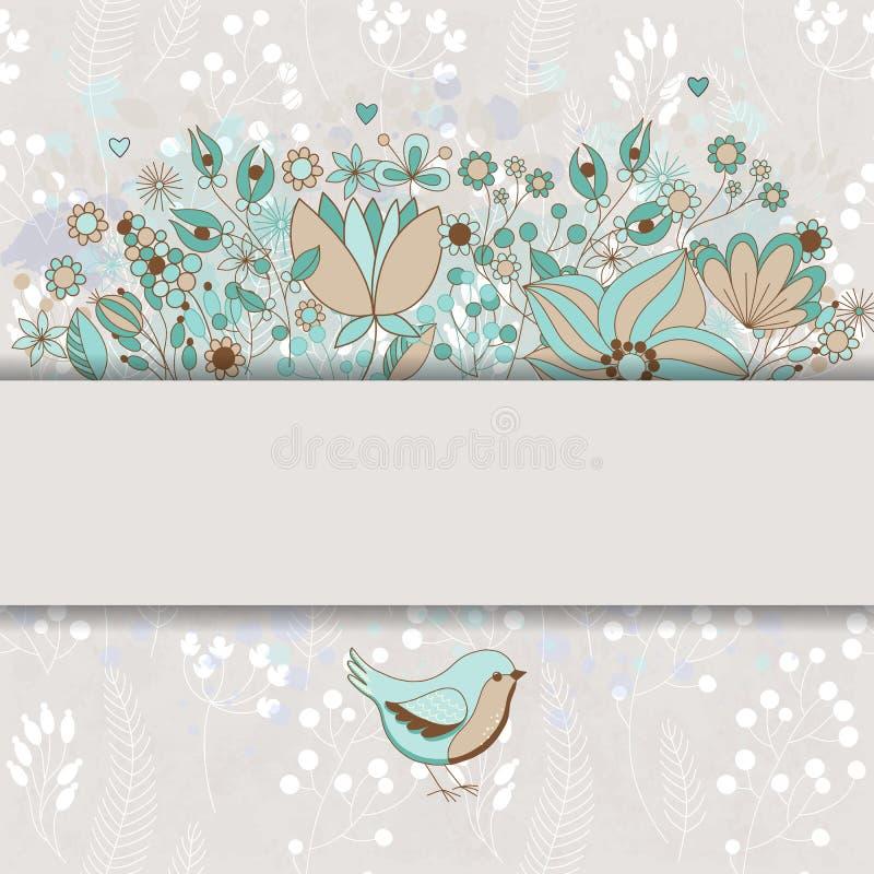 Cartão colorido do vetor com flores e pássaro fotografia de stock