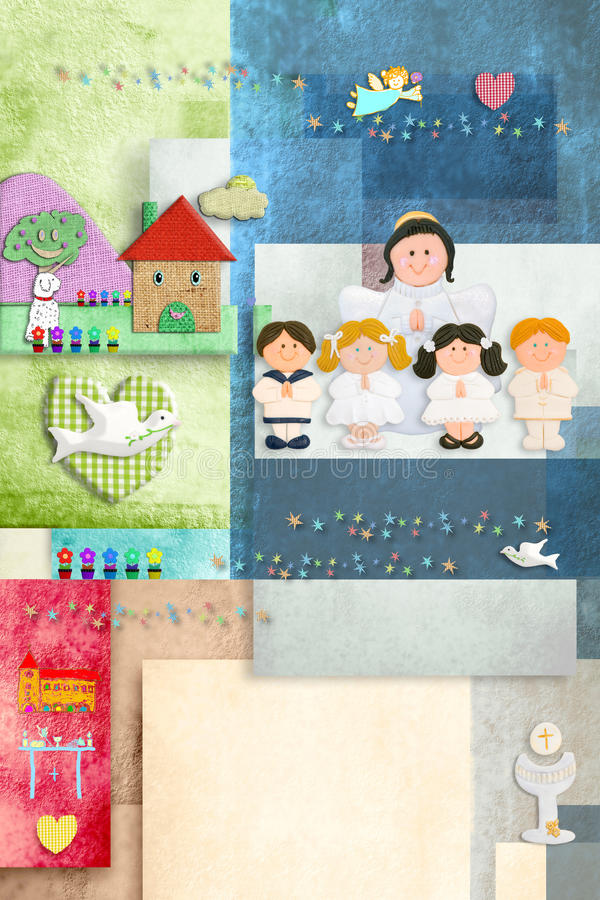O primeiros anjo do comunhão santamente e convite das crianças cardam verticalmente ilustração royalty free