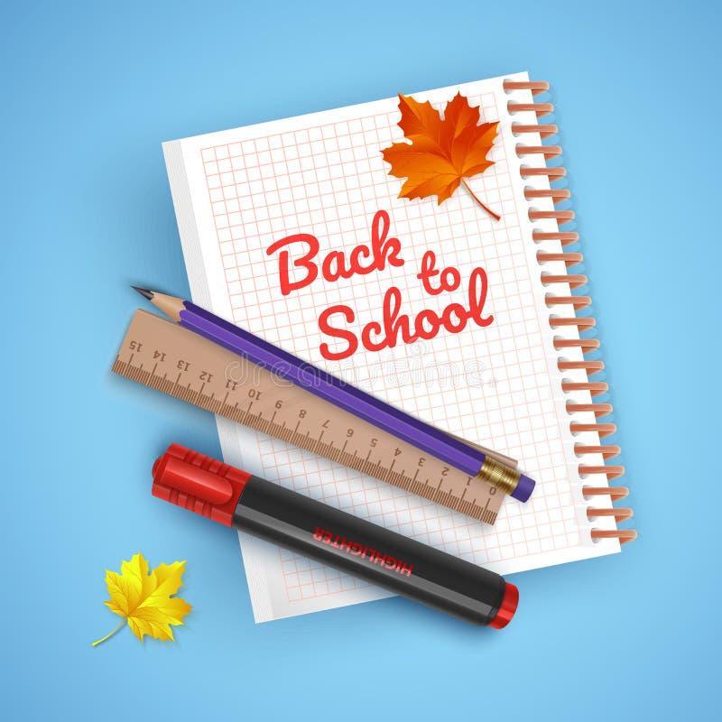 Cartão colorido em honra de volta à escola, boa vinda de volta ao cartão da escola com fontes de escola e artigos de papelaria Il ilustração do vetor