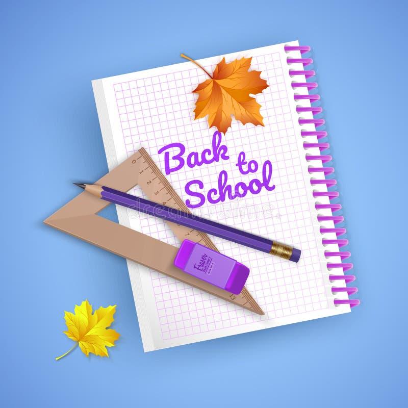 Cartão colorido em honra de volta à escola, boa vinda de volta ao cartão da escola com fontes de escola e artigos de papelaria Il ilustração royalty free