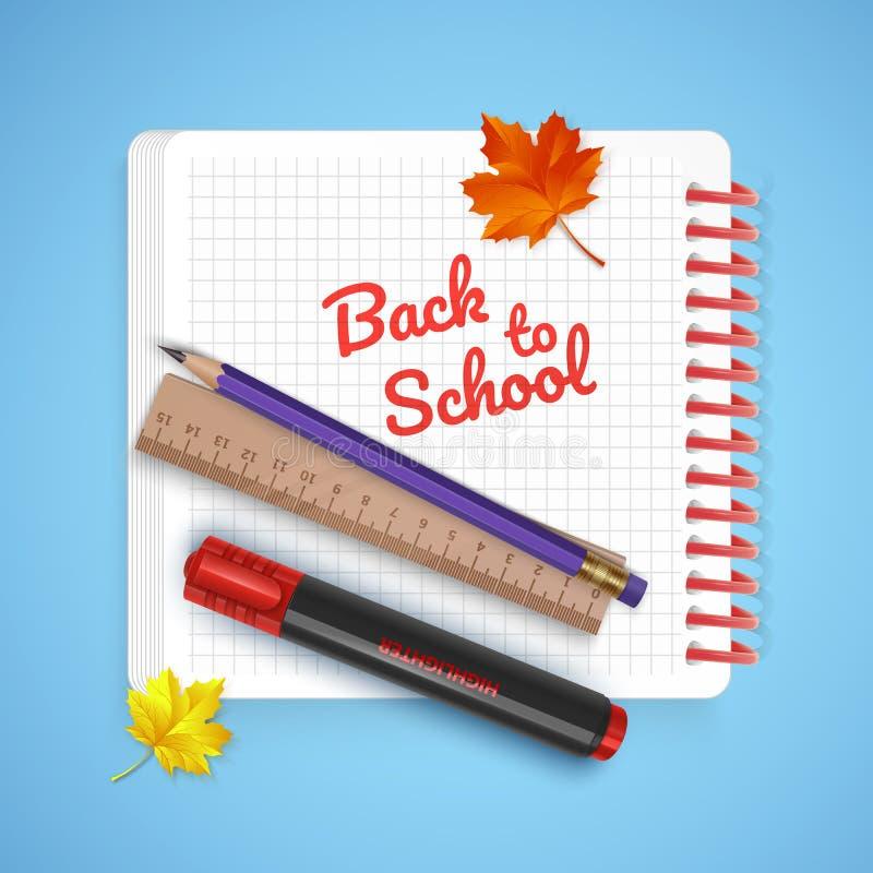 Cartão colorido em honra de volta à escola, boa vinda de volta ao cartão da escola com fontes de escola e artigos de papelaria Il ilustração stock