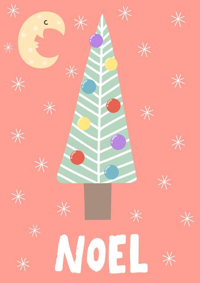Cartão com a árvore de Natal bonito na noite ilustração stock