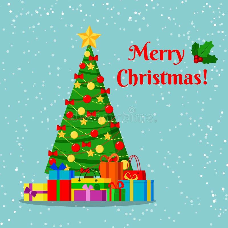 Cartão com a árvore de Natal decorada com estrela, bolas da decoração e curvas e presentes sob a árvore ilustração stock