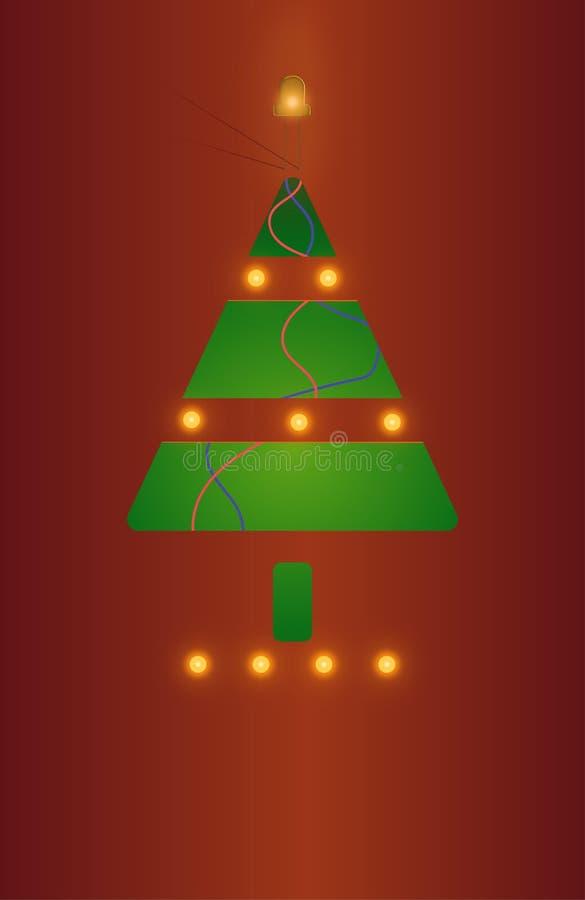 cartão com a árvore de Natal iluminada fotos de stock royalty free