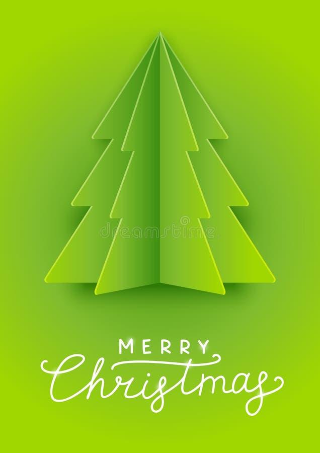 Cartão com a árvore de Natal de papel ilustração royalty free