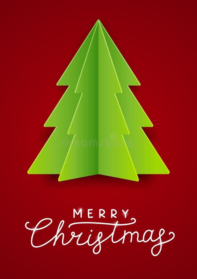 Cartão com a árvore de Natal de papel ilustração stock