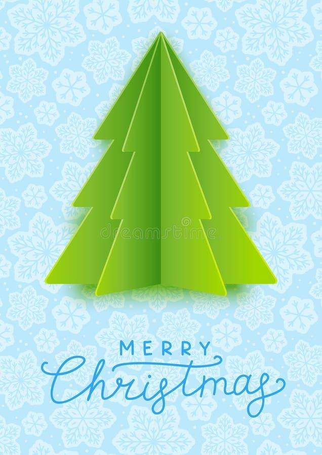Cartão com a árvore de Natal de papel ilustração do vetor