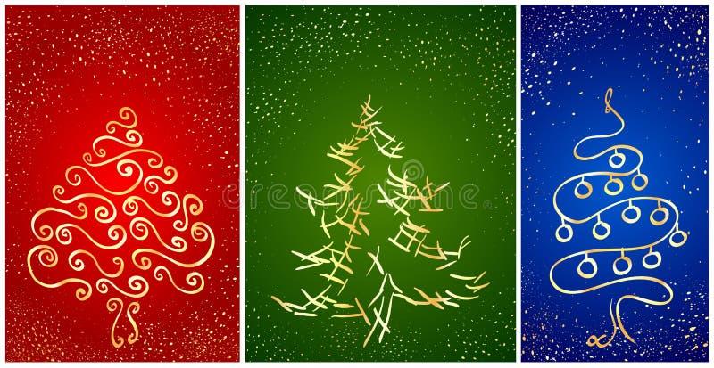 Cartão Com A árvore Do Ano Novo Do Stylization Imagens de Stock Royalty Free
