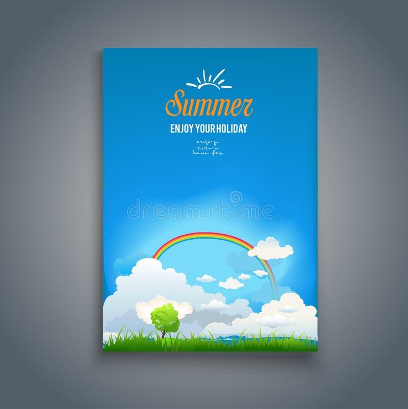 Cartão com arco-íris ilustração stock