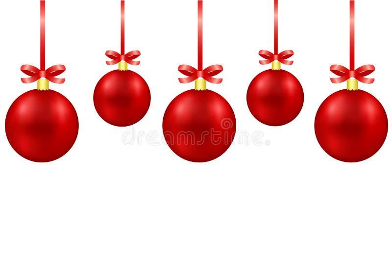 Cartão com as bolas vermelhas da decoração do Natal com curvas no branco ilustração royalty free