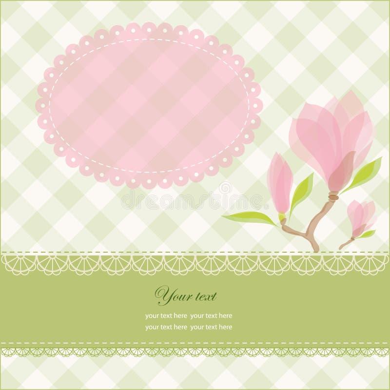 Cartão com as flores cor-de-rosa do magnolia ilustração do vetor
