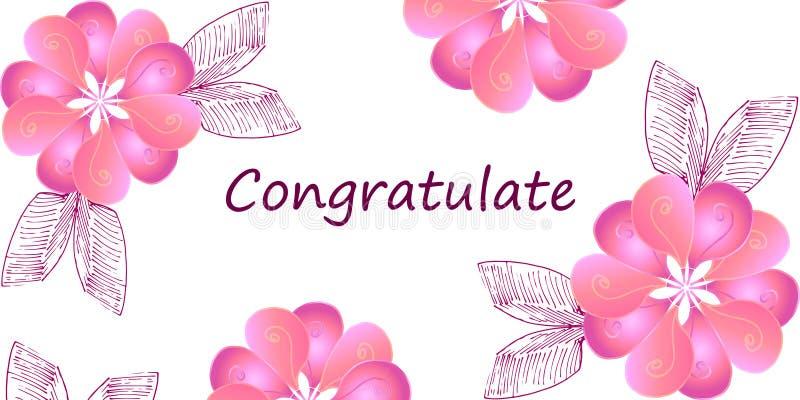 Cartão com as flores cor-de-rosa no fundo branco ilustração royalty free