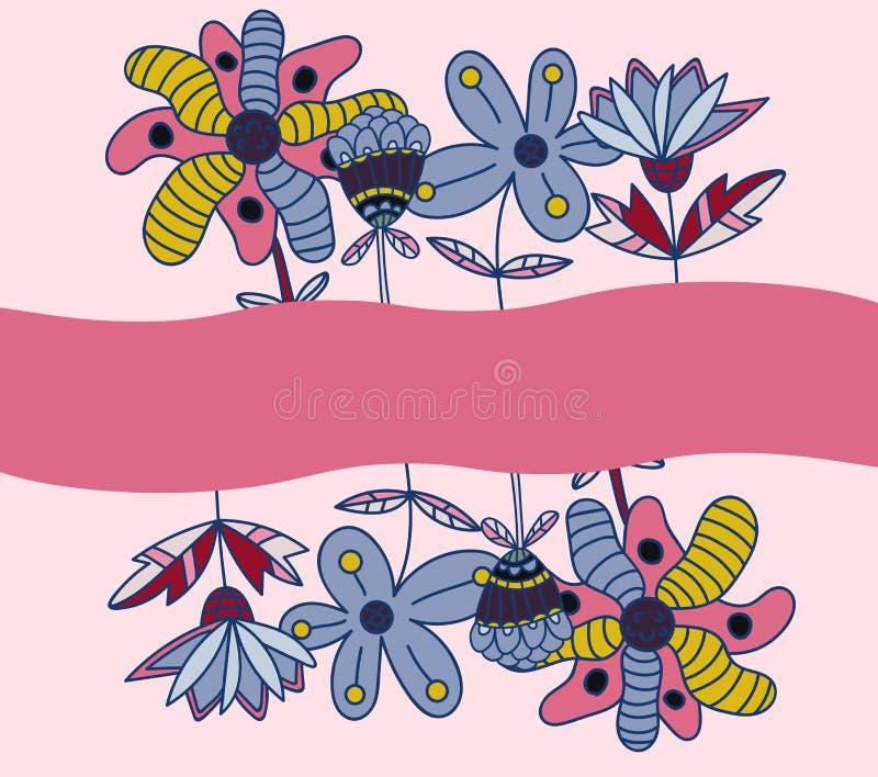 Cartão com as flores do doddle isoladas no fundo cor-de-rosa Frame floral ilustração stock