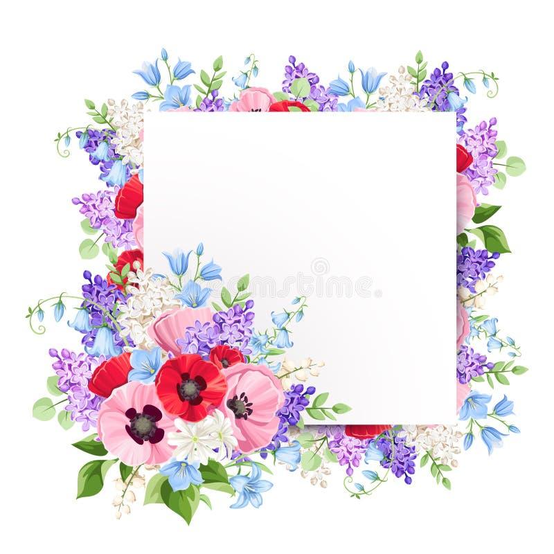 Cartão com as flores vermelhas, cor-de-rosa e roxas Ilustração do vetor ilustração royalty free