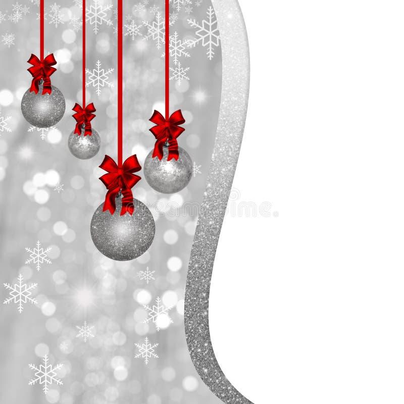 Cartão com as quinquilharias de prata do Natal e as decorações vermelhas ilustração do vetor