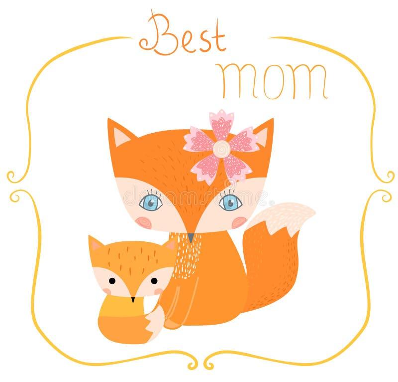 Cartão com as raposas para o dia do ` s da mãe ilustração stock