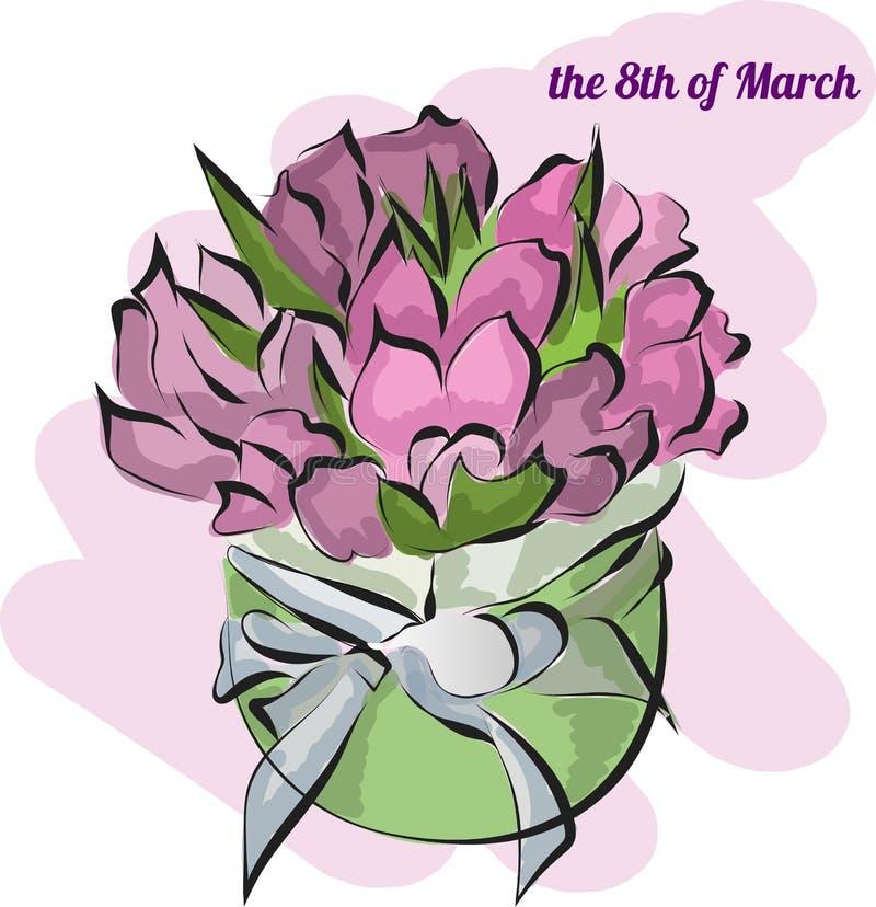 Cartão com as tulipas na cesta o 8 de março ilustração royalty free