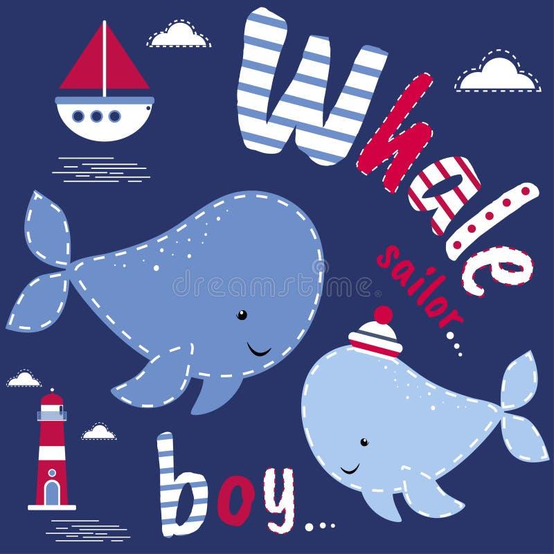 Cartão com baleias Caráter bonito, projeto do vetor, tema marinho Fundo colorido do vetor Fundo com texto inglês, anima ilustração stock